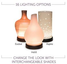 #Scentsy Oil #Diffuser Shade Styles.  Chose one of three available interchangeable shades to cover your ultrasonic essential oil diffuser.  Three misting options and 16 lighting options!  #essentialoils #natural #oils #homefragrance #diffuser #aromatherapy