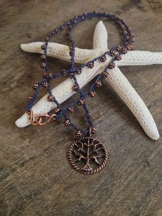 Tree of life crochet necklace- 'bohemian chic' sold by twosilversisters on Etsy