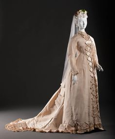 """Wedding Gown: ca. 1878, mentioned in, """"The Woman in Fashion"""" by Doris Langley Moore."""