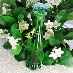 Vintage Glass Perfume Bottle, Emerald Green Bud Vase Decanter, Designer AVON, 1970s Mid Century Art Deco, Vanity Home Decor