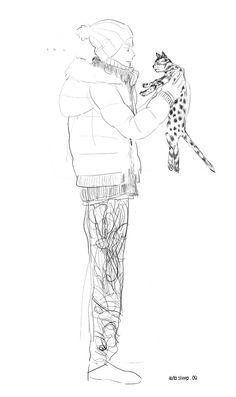 winter cat, sketch