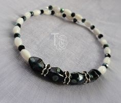 Black and White Beaded Memory Wire Bracelet/Moonstone/Crystal Bracelet/Memory Wire Jewelry/Black and White Jewelry/Beaded Jewelry by TremorsToTreasures on Etsy