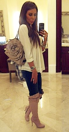 Jennifer Stano, love the boots and bag Cute Winter Outfits, Fall Outfits, Casual Outfits, Cute Outfits, Fashion 101, Fashion Outfits, Womens Fashion, Jennifer Stano, Glamour