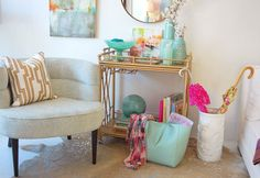 Bar Cart as Entryway table with Vivid Interiors // Twin Stripe