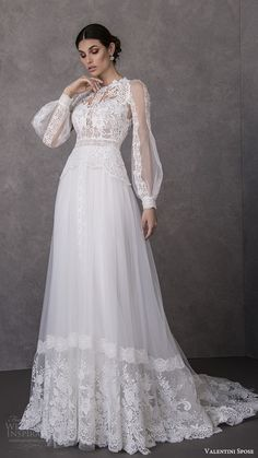 weddingdress dream dress valentini spose spring 2020 bridal illusion bishop sleeves high neck lace bodice soft a line wedding dress romantic boho chic mv -- Valentini Spose Spring 2020 Wedding Dresses Wedding Dress Tight, Modest Wedding Dresses, Boho Wedding Dress, Bridal Dresses, Wedding Gowns, Lace Wedding, Backless Wedding, Gothic Wedding, Wedding Dress Styles