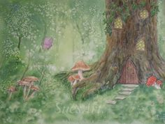 Fantasy Fairy House Watercolour Painting. Original. dwelling tree forest nature woodland butterfly ladybird toadstools mushrooms by ArtWorkBySue on Etsy