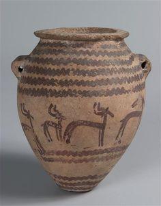 Vase tonnelet à décor de gazelles et lignes ondulées |  4e millénaire av J.-C. Egypte ancienne - Néolithique - Nagada II