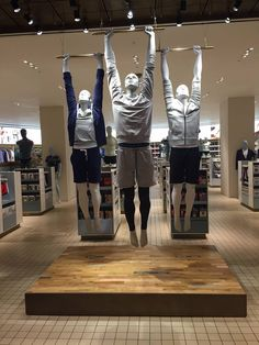 "SELFRIDGES,London,UK, ""OK guys....The essential is to excite the customers . If that means playing Hamlet on a flying trapeze or in a aquarium....YOU DO IT!"", Athletix Male Collection from GENESIS Mannequins, pinned by Ton van der Veer"
