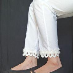 Trouser Pant With bottom Lace Sleeves Designs For Dresses, Dress Neck Designs, Lace Dress With Sleeves, Blouse Designs, Sleeve Designs, Salwar Designs, Kurta Designs Women, Kurti Designs Party Wear, Pakistani Fashion Party Wear