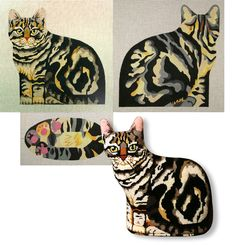 Grey tabby needlepoint stuffed animal canvas. Front. back and bottom. $136.00