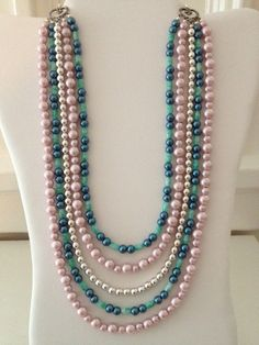 Dusty Pink, Silver, Navy Pearl & Green Pattern Layered Multi Strand Necklace