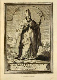 Giovanni Petroschi, San Pardo vescovo (1741), incisione per il libro del Tria