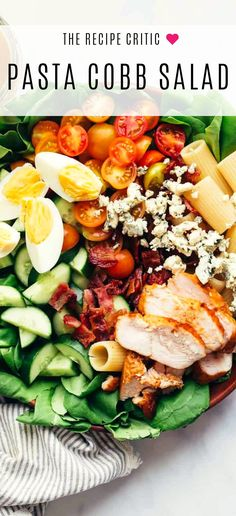 Pasta Cobb Salad Pasta Cobb Salad is a delicious take on an American garden salad thats loaded with pasta grilled chicken bacon tomatoes onions lettuce blue cheese and served with a red wine vinaigrette. Chicken Bacon, Grilled Chicken, Cobb Salad, Pasta Grill, Red Wine Vinaigrette, Pescatarian Recipes, Incredible Recipes, Cooking Recipes, Healthy Recipes