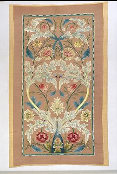 Piece Designer: William Morris  (British, Walthamstow, London 1834–1896 Hammersmith, London) Maker: Probably by Catherine Holiday Date: ca. 1875–80 Culture: British Medium: Silk on silk; linen backing Dimensions: H. 78 x W. 46 3/4 inches (198.1 x 118.7 cm) Classification: Textiles-Embroidered Credit Line: Rogers Fund, 1972