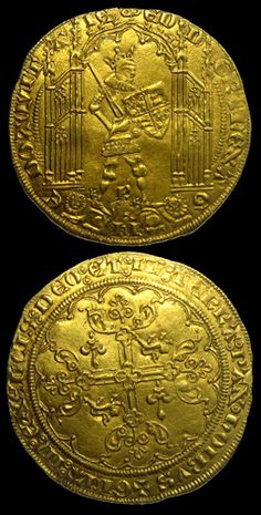 France and England-Edward the Black Gold Guiennois, struck in Bordeaux Medieval Jewelry, Medieval Art, Finding Treasure, Valuable Coins, Crypto Coin, Gold Money, Plantagenet, World Coins, Coin Collecting