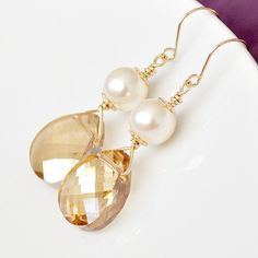Golden Champagne Earrings. 14kt Gold Fill Bridal Wedding Jewellery with Golden Teardrop Crystals and Ivory Pearls for the Bride