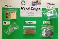 Informational bulletin board - just add projects made from each mentioned recycled type - DIY Recycling Earth Day Activities, Preschool Activities, Recycling For Kids, Recycling Activities For Kids, Recycling Projects For School, School Projects, Recycling Information, Earth Day Projects, Green School