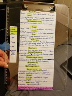 Clinical Assessment tool for nursing school! Attached to my clipboard so that I can cheat if I forget something!