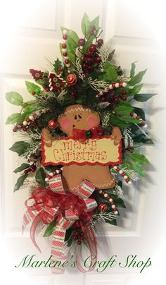 Gingerbread swagChristmas Gingerbread by MarlenesCraftShop on Etsy