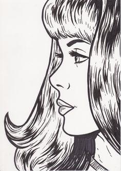 black marker on paper by Julia Arnoldi #art #popart #blackandwhite #girl #comic #b&w #drawing #woman #marker #diy #edding