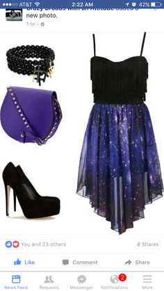 Night galaxy outfit that I want! Pretty Outfits, Pretty Dresses, Beautiful Dresses, Purple Outfits, Teen Fashion, Fashion Outfits, Womens Fashion, Fashion Fall, Gothic Fashion