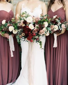 Beautiful autumn wedding bouquets + bridesmaid dresses #bridesmaiddresses