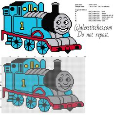 Thomas The Tank Engine And Friends Free Cross Stitch Pattern Full Figure - Free Cross Stitch Patterns By Alex - Diy Crafts Counted Cross Stitch Patterns, Cross Stitch Charts, Cross Stitch Designs, Cross Stitch Embroidery, Stitch Cartoon, Crochet Cross, Thomas And Friends, Cross Stitching, Knitting Patterns