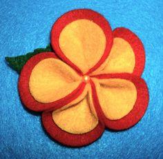 Hawaiian Tropical Plumeria Red and Yellow felt flower hair clip