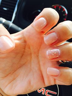 Shellac - nude with glitter accent nail <3