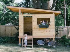 """We were debating between a swing set and play house, and the house won because it would be fun for the kids for longer (and one day could become a chicken coop). I sketched out the design, and my dad, who's a contractor, gave me advice. At one point, he said, """"Why don't I come up and we build it?"""" and then he arrived from Florida. It took 2.5 days of intense labor, but was the most satisfying thing I've done in years. It was really special to work alongside my dad and to see him in his"""