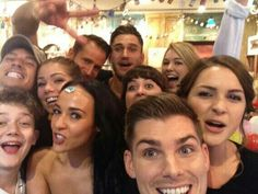 The Hollyoaks cast after their LIVE challenge for their Best Soap win at the British Soap Awards 2014 <3 .