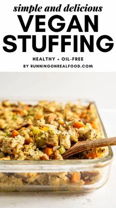This simple, healthy vegan stuffing recipe is easy to make with basic ingredients and makes a wonderful addition to Christmas, Easter, Thanksgiving and other holiday meals. Oil-free, no butter, can be gluten-free. Vegan Thanksgiving Dinner, Stuffing Recipes For Thanksgiving, Thanksgiving Holiday, Vegetarian Christmas Recipes, Vegan Christmas Dinner, Healthy Thanksgiving Recipes, Vegetarian Meal, Thanksgiving Desserts, Whole Food Recipes