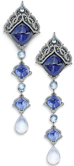 These sapphire, moonstone, and diamond earrings reflect Prince Dimitri's fondn. - These sapphire, moonstone, and diamond earrings reflect Prince Dimitri's fondness for antique jew - Sapphire Jewelry, Sapphire Earrings, Moonstone Earrings, Sapphire Diamond, Blue Sapphire, Gold Earrings, Opal Jewelry, Crystal Jewelry, Emerald Green