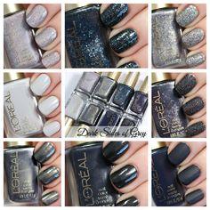 A look at the LOreal Dark Sides of Grey nail polish collection. Eight limited edition grey nail colors.