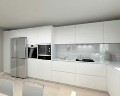 The all-time elegant kitchen--perfectly fitted appliances. No pulls, knobs or a... - #Cocinacomedor #Cocinasabiertas #Cocinasblancas #Cocinaspequenasmodernas #Decoraciondeinteriores #Mueblesdecocina