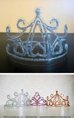 Make a plastic glitter crown using a 2-liter soda pop bottle!