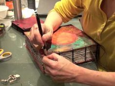 """Binding tutorial Art Journal Part IV Very easy way to """"tie"""" individual boards together into a book. Her concept of a mandala journal is beautiful."""