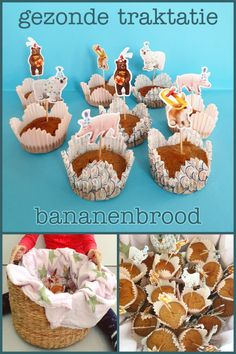 Gezonde traktatie: bananenbrood cupcakes #leukmetkids #verjaardag #traktatie #birthday #treat #bananenbrood Oreo, Pokemon, Sweets, Blog, Party, Desserts, Kids, Sweet Pastries, Tailgate Desserts