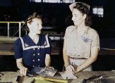 Pearl Harbor widow Virginia Young supervising trainee Ethel Mann at the Assembly…
