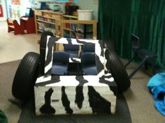 For craft we used a large cardboard box to make our very own Safari jeep. We used real tyres from the playground and put some seats inside!