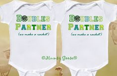 Funny Twin Onesies  Tennis Onesies by Mumsy Goose  Newborn to Toddler Tshirts. $28.00, via Etsy.