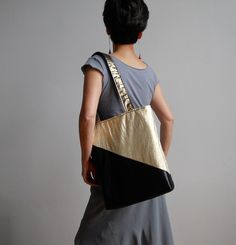 Midnight Gold Tote : Metallic Gold and Black Tote Bag   FREE SHIPPING. $29,00, via Etsy.