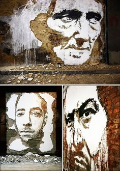 Alexandre Farto aka Vhils is a young artist from Lisbon, Portugal. Vhils has been into street art since he was 13. Vhils creates graffiti by scratching walls, ripping up old billboards, etching metal, stencil and painting paper and timber, including a number of installations using lights, steel boxes, spray cans, paint, bleach and more.
