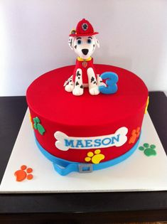 Paw Patrol cake featuring Marshall. HOMEMADE BY HOLLIE