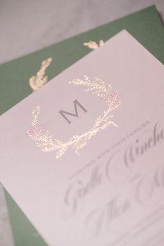 GISELLE Suite Basic Package, elegant rustic wedding invitation with foil laurels, rose gold foil