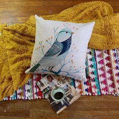 Vintage-inspired Bluebird Premium Cotton Linen Pillow Case #ArtDecoStyle