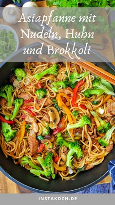 Asian pan with noodles chicken and broccoli-Asiapfanne mit Nudeln Huhn und Brokkoli This Asian pan with pasta, chicken and broccoli is delicious, healthy and instantly homemade. Quick Easy Meals, Healthy Dinner Recipes, Healthy Snacks, Vegetarian Recipes, Meal Recipes, Cooking Recipes, Asian Recipes, Dessert Recipes, Pescatarian Recipes