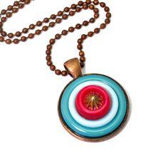#handmade #Button #Necklace by @BluKatDesign on #Etsy