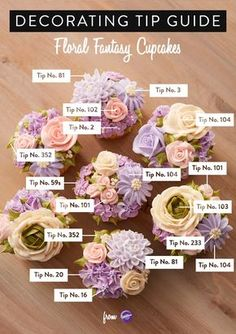 This handy decorating tip guide is a useful tool when piping different buttercream flowers as the guide clearly illustrates what piping tip was used for each decoration. Click for instructions!