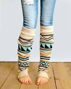 Aztec Leg Warmers Boho Turquoise Tan Camel Black Tribal Southwestern Print Legwarmers One Size